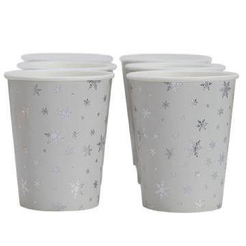 Silver Snowflake Christmas Party Paper Cups
